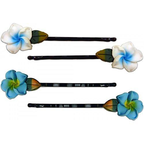 Fimo Hair Flower Mini Bobby Pin Set of 4 Plumeria White &...