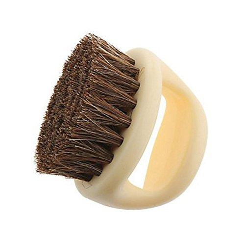 Yeah67886 Horseshoe Shape Horse Hair Soft Shoe Brush (Beige)