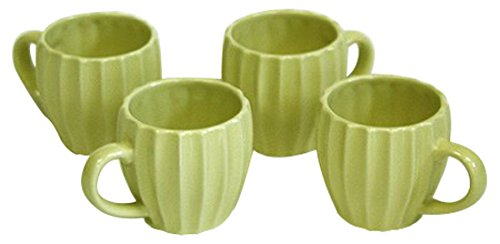 Hues and Brews Textured Tea Mug Set, Bamboo, (Yellow Mug Set)