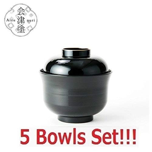 [5 Bowls Set] Asahi Kyouyou Japanese Black Bowls With Lid Set for Rice, Soup etc.