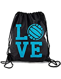 I Love Volleyball Sackpack Drawstring Back Pack (One Size, Black/Blue Love)