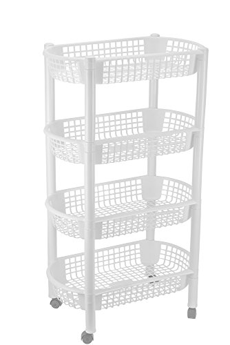 DecorRack Kitchen Storage Rack, 4-Tier Wheeled Plastic Wicker Mesh Basket Shelving Trolley, Rolling Kitchen Storage Cart with Shelves on Wheels for Vegetable and Fruit Storage, White