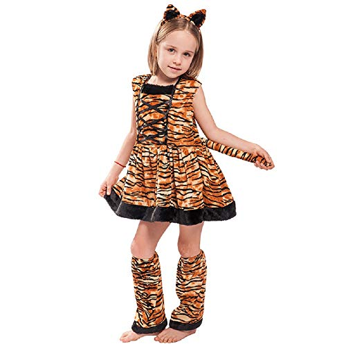 EraSpooky Girl's Tiger Costume Halloween Cat Costume for Girls Cheerleader Kids Dress - Funny Cosplay Party ()
