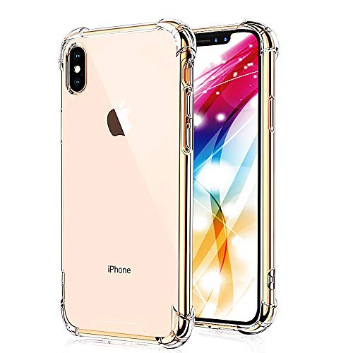 SXUUXB iPhone Xs Max Case 6.5-Inch, [Shock-Absorption] HD Crystal Clear with 4 Corners Protection, TPU Bumper and Anti-Scratch Hard PC Back Cover