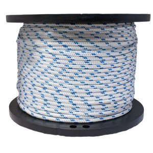 Miami Cordage 7/16 in X 150 ft White w/Blue Polyester Double Braided Rope