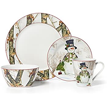 Mossy Oak 16-Piece Break-Up Infinity Dinnerware Set Holiday Snowman  sc 1 st  Amazon.com & Amazon.com: Gibson Home Tree Trimming 20-Piece Ceramic Dinnerware ...