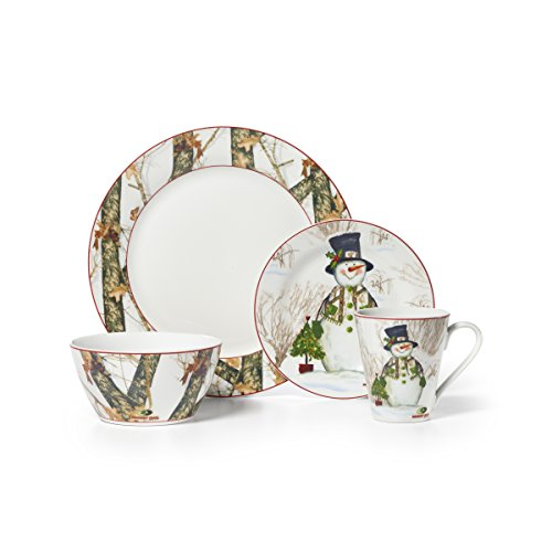 Mossy Oak 16-Piece Break-Up Infinity Dinnerware Set, Holiday Snowman
