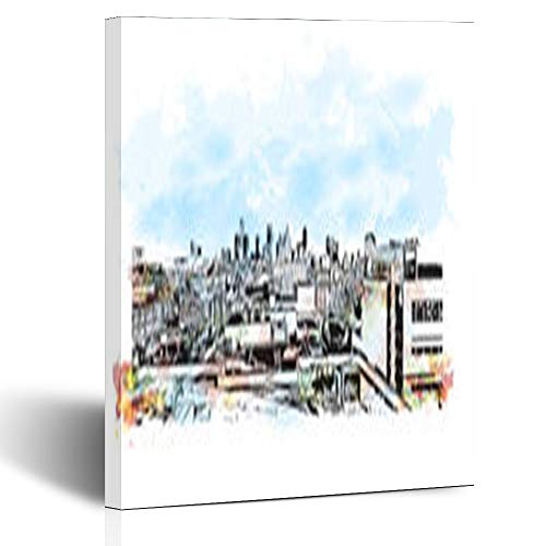 Canvas Prints Wall Art Stretched Framed Hand Detroit City Michigan Drawn USA Watercolor Splash Water 8 x 10 Inches Modern Painting Home Decor Wrapped Gallery Artwork