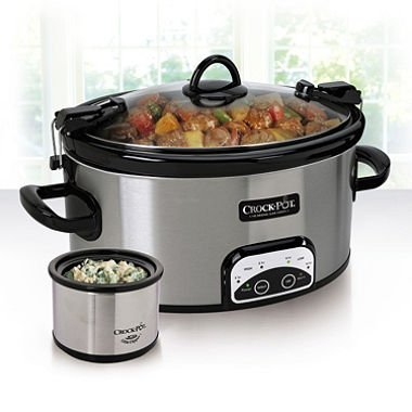 CROCK-POT 6 Quart Crock Pot Slow Cooker Stainless Steel Oval Travel and Serve with Little Dipper Warmer Programmable Digital Controls Auto With Lid