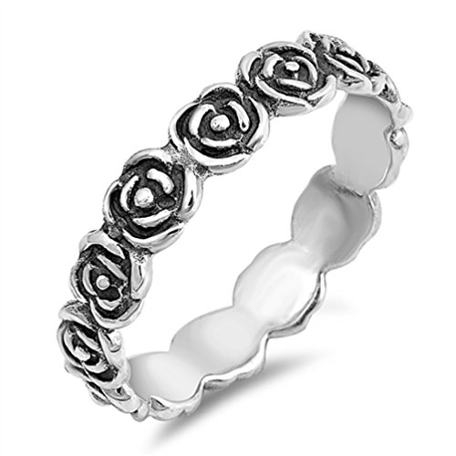 New .925 Sterling Silver Ring Eterenity Rose Flower Stackable Sizes 4-10 (sterling-silver, - Texas In Outlets Austin