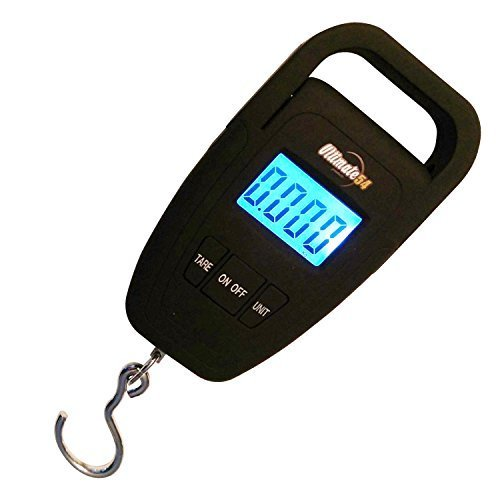 Ultimate54 Portable Digital Hanging Hook Fishing and Luggage Scale Multifunction with Tare and Large LED Display & Backlight 110lb/50kg Capacity - Free Luggage Strap Batteries Included Black