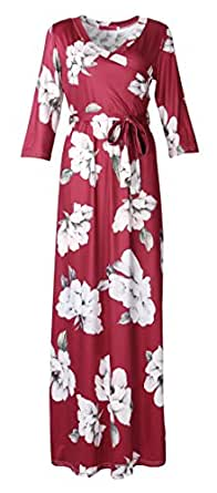 Artfish Women's Floral Print V Neck 3/4 Sleeve Maxi Casual Dress (S,Burgundy)
