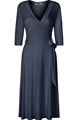 BodiLove Women's 3/4 Sleeve V-Neck Solid Knee Length Wrap Dress Charcoal M(DJ2876-S)