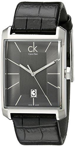 Calvin Klein Men's K2M21107 'Window' Grey Dial Black Leather Strap Swiss Quartz Watch (Dress Watch Calvin Klein)