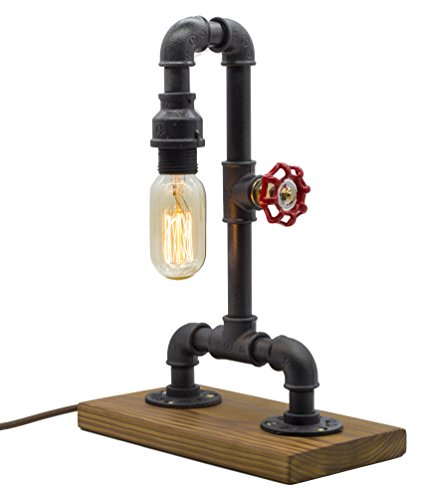 "Loft Style Lamp with Dimmer, Dimmable Steampunk Industrial Vintage Antique Light, Wood Base with Iron Piping Desk Lamp, Y-Nut ""Zhang Fei"" Retro Desk Lamp LL-021 by Y-Nut"