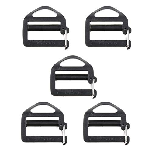 Flameer 5pcs Plastic Triglides Slides 1 inch Webbing Fasteners Strap Camping Bag Belt Suitcase Backpack Attachment Tool