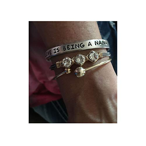 Dominix Love is Being a Nana Limited Edition Hand-Stamped Bracelet - Love is Being A Nanny Grammy Meme Stamped Bracelet Gift Birthday