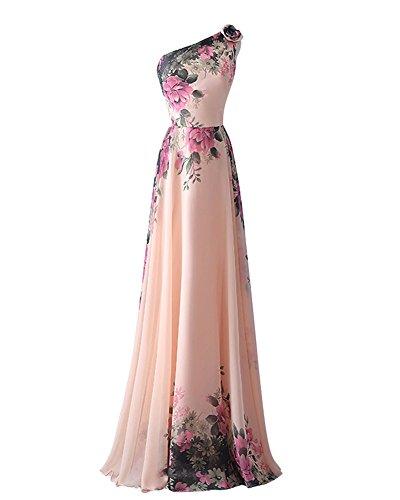 Una Abiti Spalla Yipgrace Elegante Sera Lungo Pink Da Floreale Donna xqU44XZE