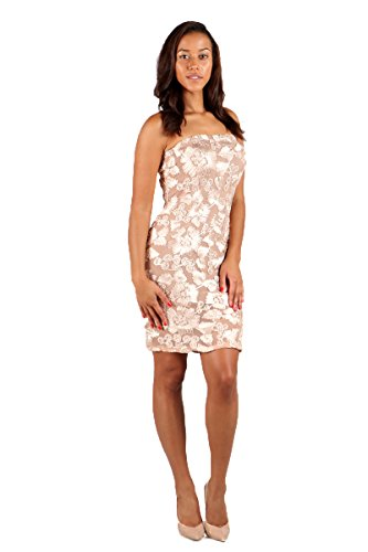 Women's Throwing Petals Floral Sheer Mesh Embroidered Overlay Tube Dress (LARGE, BEIGE GOLD-H33316)