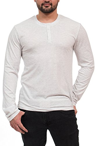 Mtl Rings - MTL-65601 Heather LS Henley -White/XL