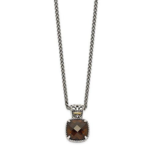(925 Sterling Silver 14k Smoky Quartz Chain Necklace Pendant Charm Gemstone Fine Jewelry Gifts For Women For Her)
