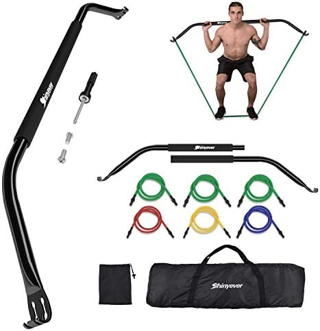 SHINYEVER Bow Portable Home Gym Resistance Bands Fitness Equipment System with 6 Resistance Bands Weightlifting Training Kit, Full Body Workouts, Portable Workout Equipment for Home, Travel, Outdoor