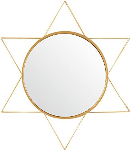 Amazon Brand Rivet Modern 3-D Star Shaped Metal Mirror Home Decor, 22.5 Inch Height, Gold Finish