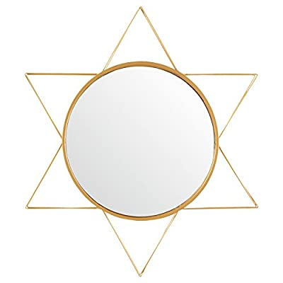 "Rivet Modern 3-D Star Shaped Metal Mirror, 22.5""H, Gold Finish - Six 3-D iron triangles are arranged around a mirror with a two-layer round frame, forming a star with depth and a substantial presence, while gold finish gives it a touch of glam. This piece will dress up a wall in any area with modern décor. Modern design with touch of glam Glass, iron with gold finish - bathroom-mirrors, bathroom-accessories, bathroom - 41k0%2B0m7ruL. SS400  -"