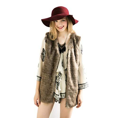 Confortevole donna Gilet Chic maniche Gilet Casual in da Elegante Capispalla Inverno C a brown vento di pelliccia senza Cute sintetico Autunno termico Moda qZtyWFZc