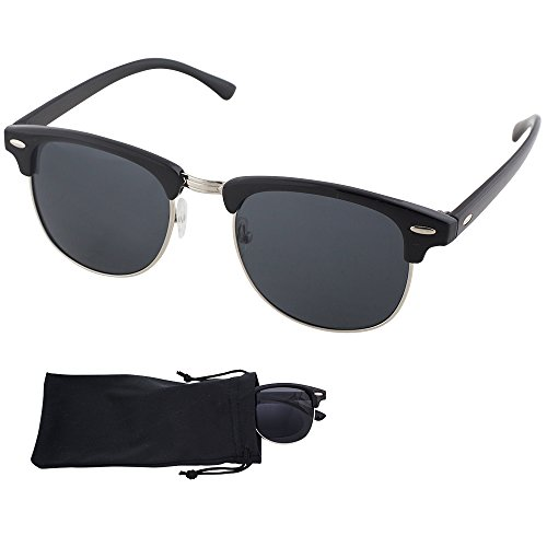 Clubmaster Sunglasses - Black Plastic & Metal Frame With Smoke Lenses - UV Ray Protected Shades For Men & Women - By Optix - Sunglasses Protected Uv