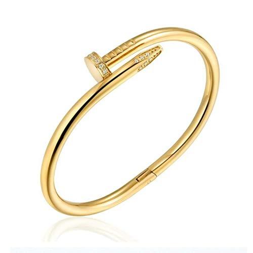 DAIDCI Womens Fashion Titanium Steel Jewelry Women's Stainless Steel Nail Love Bracelet (Gold) (Stainless Nail Bracelet Steel)