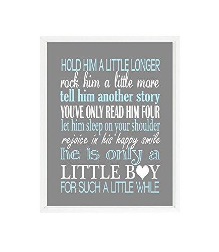 Hold Him A Little Longer, Rock Him A Little More, Baby Boy Nursery, Baby  Boy Quote, Boy Room Decor, Little Boy Print, Blue, Gray, Gift