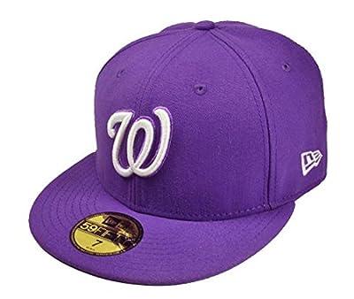 New Era 59fifty Fitted Hat MLBBasic Washington Nationals Men's Cap Lavender (7 3/4)