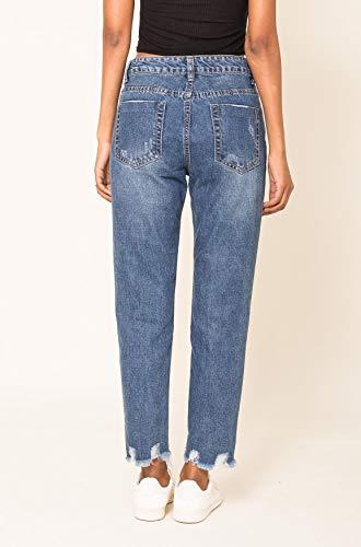 Stile Carter Pantaloni Donna Jeans Strappato Ragazzo D2517 Nina Distrutto Blu wITq1pp