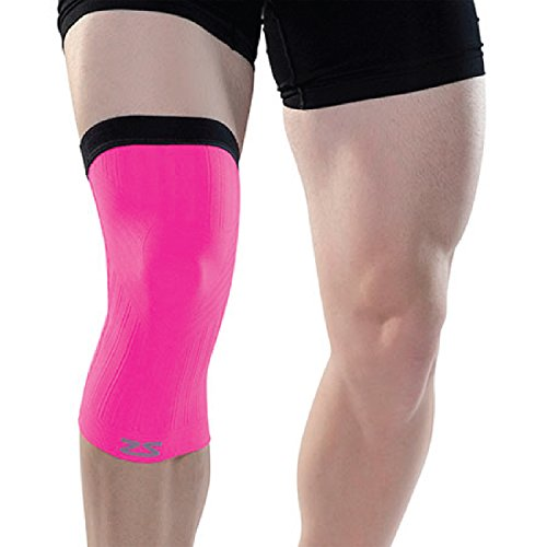 (Zensah Compression Knee Sleeve Shorts, Large/X-Large, Neon Pink)