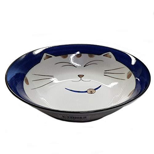 Handled Shallow Bowl - JapanBargain Japanese Smiling Blue Cat Porcelain Shallow Bowl, 6-3/4