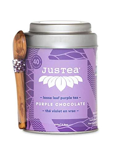 JusTea PURPLE CHOCOLATE | Loose Leaf Purple Tea with Hand Carved Tea Spoon | 40+ cups 3.5 Ounce Tin | Low Caffeine | Award-Winning | Organic | Fair Trade | Non-GMO]()