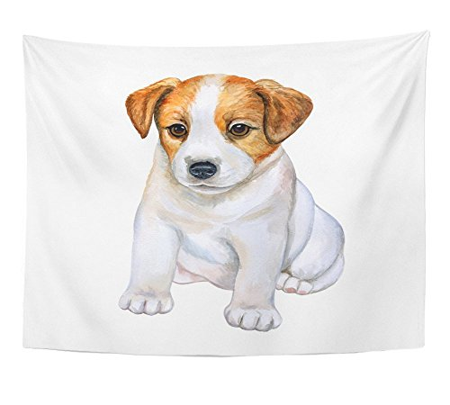 - Emvency Tapestry Background Puppy Jack Russell Terrier White Watercolor Clip Watercolor Wall Hanging Polyester Fabric for Bedroom Living Bedspread Room Dorm Decorations 60x80 Inches