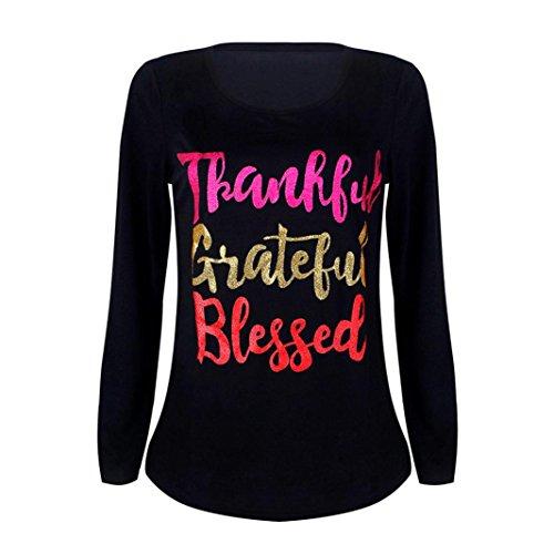 GBSELL Women Girl Thanksgiving Print Long Sleeve Blouse Tops T shirt (L, Black)]()