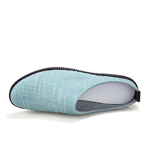 Blue Color Zapatos Casuales sólido Mocasines Deslizamiento en tamaño Color 42 Lona Meimei EU Hombres talón shoes Plano Superior holgazán los Sky De xnqfPU