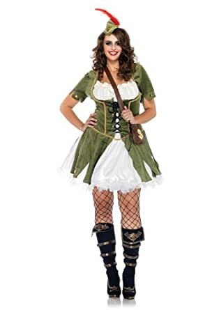 Leg Avenue Women's 3 Piece Thief Of Hearts Peasant Dress With Waistcoat And Satchel, Olive/Cream, 3X-4X