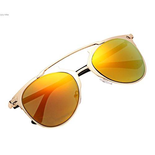 unisex Vintage gafas espejo metal sol estilo Rojo de gafas marco gafas lente de CrCxn5qwv