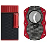 Colibri Julius Lighter and Monza Cutter Gift Set - Black & Red