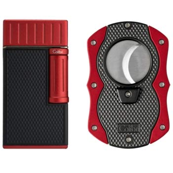 Colibri Julius Lighter and Monza Cutter Gift Set - Black & R