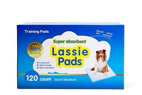[Value Pack 120 Count Dog Training Lassie Pads/Mats, Potty Train Your Dog or Puppy With These Super Absorbent Housebreaking Pee Pads 22 x 23 Inches] (Biodegradable Training Pads)