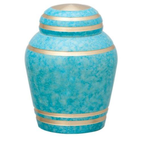 ミニ骨壺 Simple Modern シンプル モダン ブルーの塗装にゴールドのラインを組み合わせた、上品でさわやかな配色です『スカイブルー』 B004EVYNL8