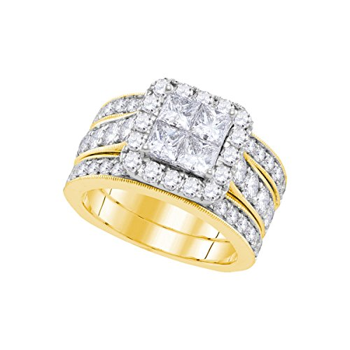 3 Ct Tw Invisible Set (Roy Rose Jewelry 3-Carat tw Diamond Invisible-set Princess Bridal Ring Set 14K Yelow)
