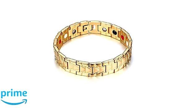 *** SUPER WIDE *** Magnetic Mens stainless steel link bracelet 5000 Gauss 316L