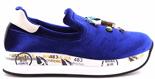 Takai New Italy On Sneakers 1757 Mujer Blue PREMIATA Slip Zapatos Jewelry Velvet 1ZWXR64qP