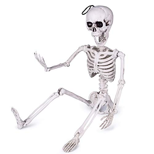 24 Inches Halloween Skeleton, Full Body Posable Skeleton for Halloween Decorations, Graveyard Decorations, Haunted Houses, Creepy